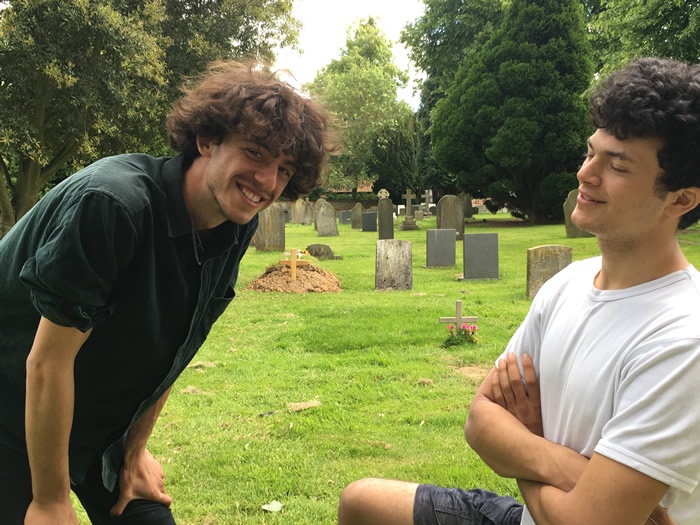 Max and T in Dedham graveyard