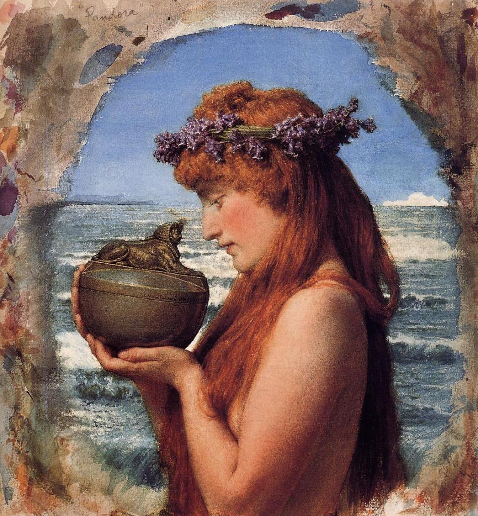 Renaissance oil painting depicting Pandora on the verge of opening her famous box
